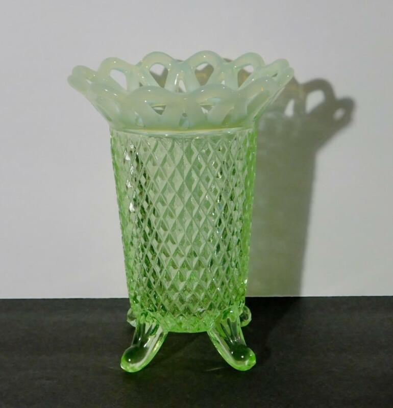 Vintage Imperial Katy Vaseline Glass Opalescent Laced Edge Vase
