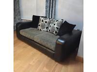 BLACK LEATHER SOFA's 3 seats and 2 seats