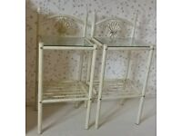 2x Ivory & Gold Metal Bedside Tables