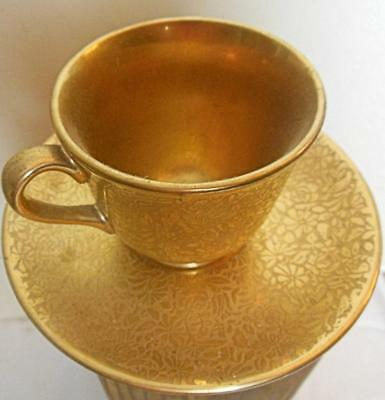 Gold Tone Relief Cup and Saucer Wheeling Decorations West Virginia USA