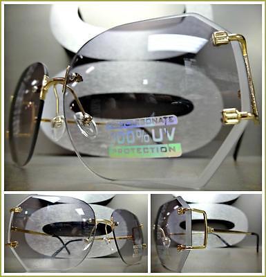 Style Tint - CLASSIC VINTAGE RETRO Style SUN GLASSES Gold Rimless Frame Light Gray Tint Lens