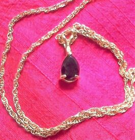 NECKLACE = Gold Rope Chain Necklace with Dark Brown/Black Pendant!