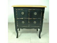Beautiful antique solid elm wood 4 drawer bedside table unit