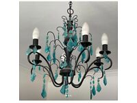 Chandelier- light fitting - wrought iron with blue crystals