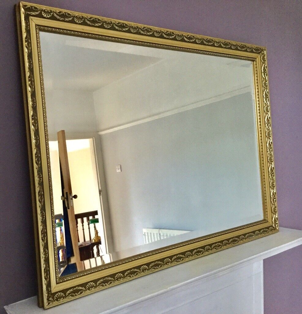 Vintage Gold Framed Bevelled Wall Mirror Over Mantel