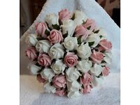 Beautiful AS NEW Wedding Bouquet - Foam Ivory and Pastel Pink Roses