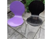5 garden chairs - 2 black, 2 lilac, used and in need of painting