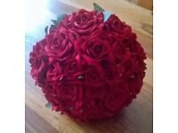 Beautiful hand tied silk red rose bridal bouquet