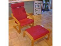 Ikea Poang leather Chair & Stool