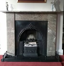 Original victorian cast iron fireplace with marble surround and fender