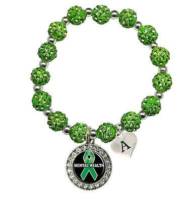 - Custom Mental Health Awareness Green Bling Bracelet Jewelry Choose Initial