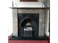Original victorian cast iron fireplace, marble surround and fender