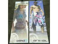 A large pair of ANIMAL shop posters for fashion clothing 150 x 50 cm