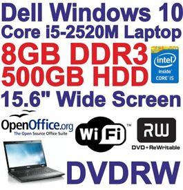 Windows 10 Dell Latitude E5520 Core i5 Laptop - 8GB DDR3 - 500GB - DVDRW - Wi-Fi