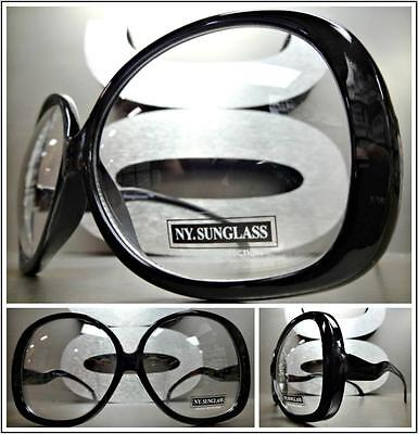 7414a67f7e OVERSIZE EXAGGERATED VINTAGE RETRO Style Clear Lens EYE GLASSES Huge Black  Frame