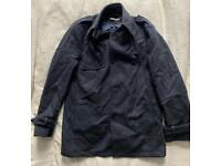 Grey and blue checked Wool car coat size 42