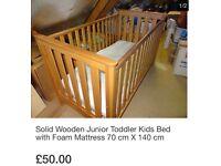 Solid Wooden Junior Toddler Kids Bed with Foam Mattress 70 cm X 140 cm