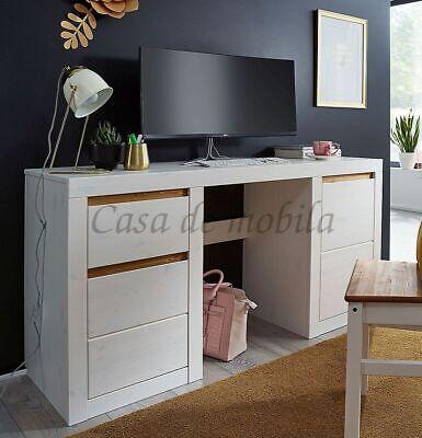 Schreibtisch CELLE 155x75x50cm Kiefer weiß gebeizt lackiert Bürotisch - Schlafzimmer Lackiert Schreibtisch