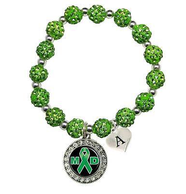 Custom Muscular Dystrophy Awareness Green Bling Bracelet Jewelry Choose Initial