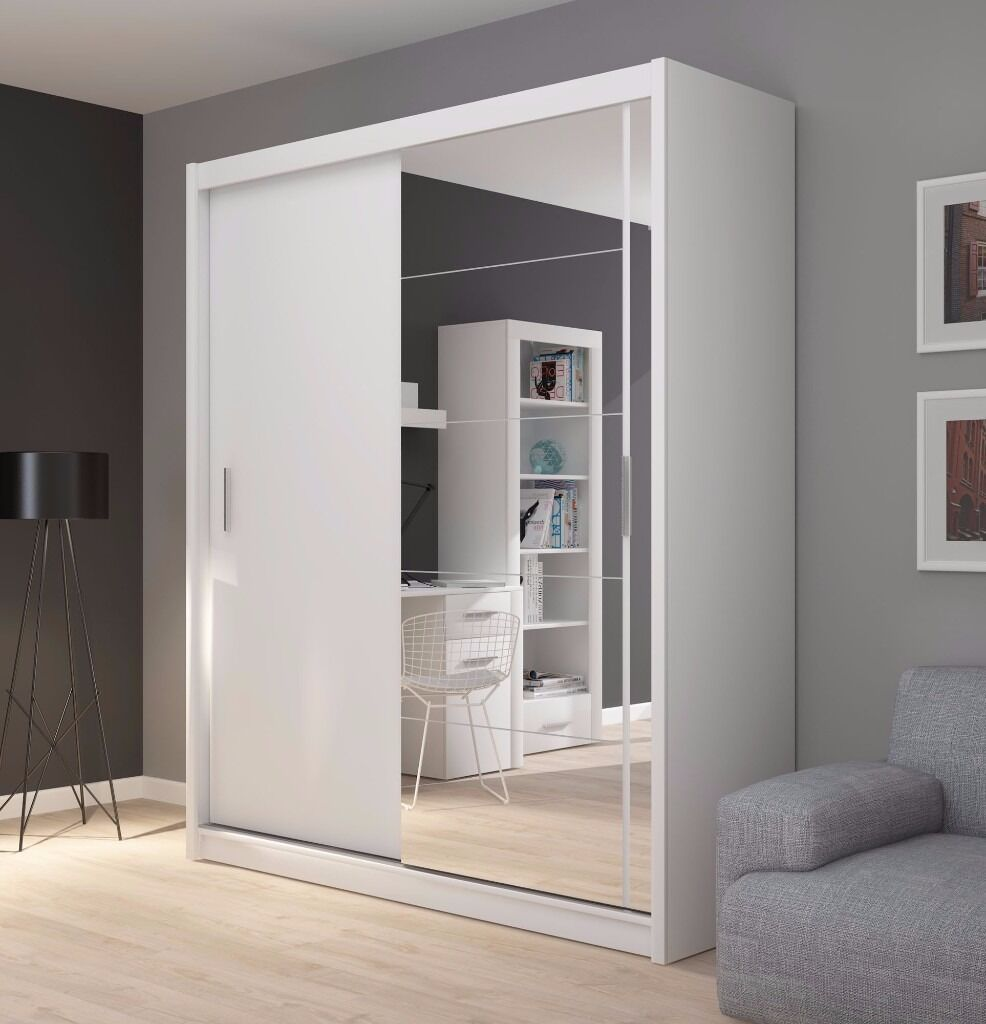 New Amazing High Quality White sliding door Wardrobe FD-180 with a mirror-QUICK DELIVERY