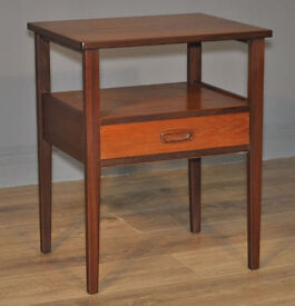 Attractive Small Vintage Retro Teak Bedside Cabinet Table With Drawer