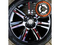 "17"" Custom Black/Red SE alloys VW Audi etc excel matching tyres."