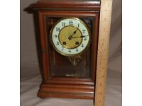An Oak & Bevel edged Glass case Chiming Clock for sale  Folkestone, Kent