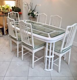 Exquisite Elegant Conservatory Glass Dining Table & Chairs