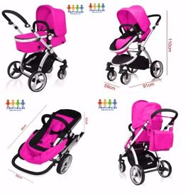 New Baby Kids Girls Black Boys Silver Pushchair 3in1 Travel System Pram Car Seat Carry Cot Buggy