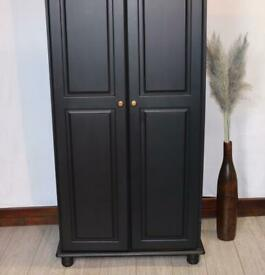 Beautiful black 2 door wardrobe/customised handles. Absolute bargain. Great condition. Delivery.