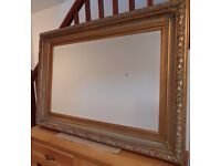 VERY LARGE ORNATE GILT BEVELED MIRROR FOR WALL MOUNTING PORTRAIT OR LANDSCAPE