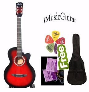 Acoustic guitar for beginners, students Free Bag Strings 5 picks Brand New Red