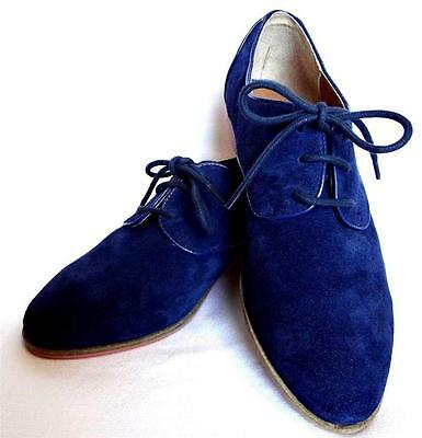 DV Dolce Vita Mini Loafer Navy Suede Flats Shoes Lace Up Blue Orange Oxford NEW Vita-mini