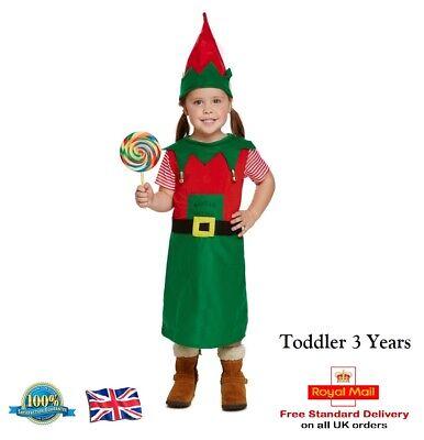 TODDLER SANTAS LITTLE HELPER COSTUME Book Day GIRLS Fancy Dress Elf Outfit  - Santas Little Helper Outfit
