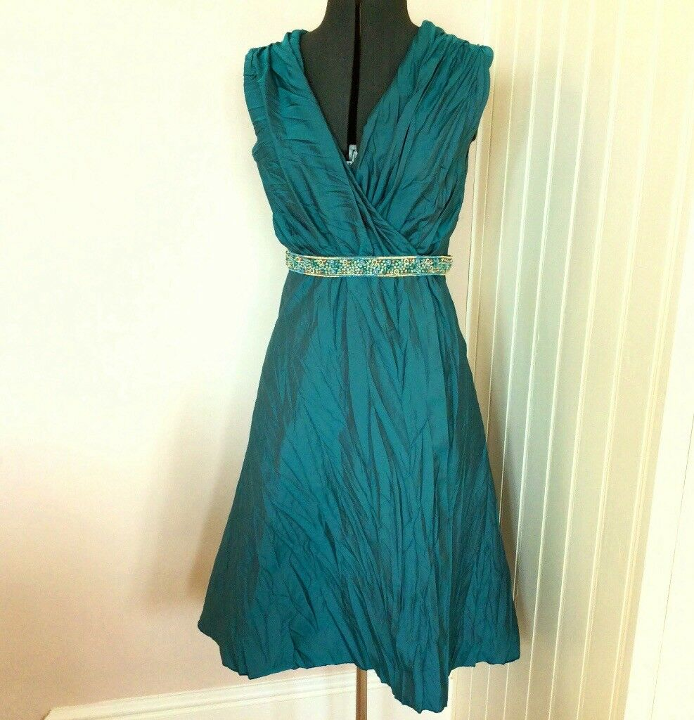 Teal Turquoise Wrap Wedding Guest or Mother of the Bride Dress Size ...