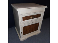 Shabby Chic Painted Wooden Cabinet with Drawer, Bedside Table