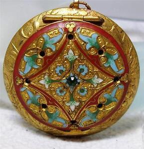 Antique-Gilt-Enamel-Powder-Compact-Mirror-Pendant-Original-Bevelled-Mirror