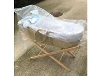 Baby Moses Basket and Wooden Stand NEW sorry SOLD