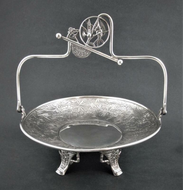 Antique PAIRPOINT silverplate Aesthetic Period CAKE BASKET Birds Flowers Insects