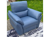 Ex-display Designer Pale Blue Leather Electric Reclining Arm Chair.