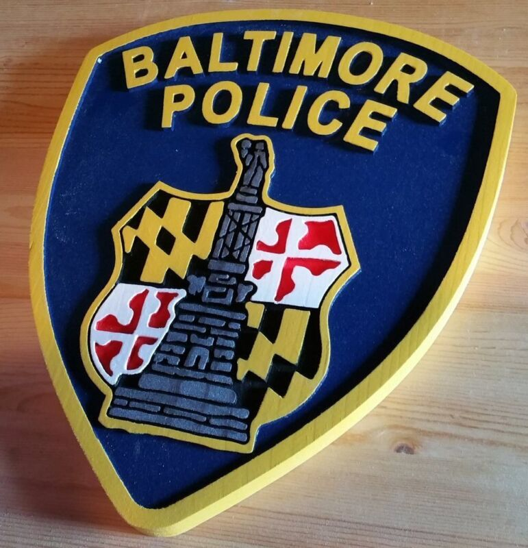 Police Department Baltimore routed wood patch  plaque sign Custom