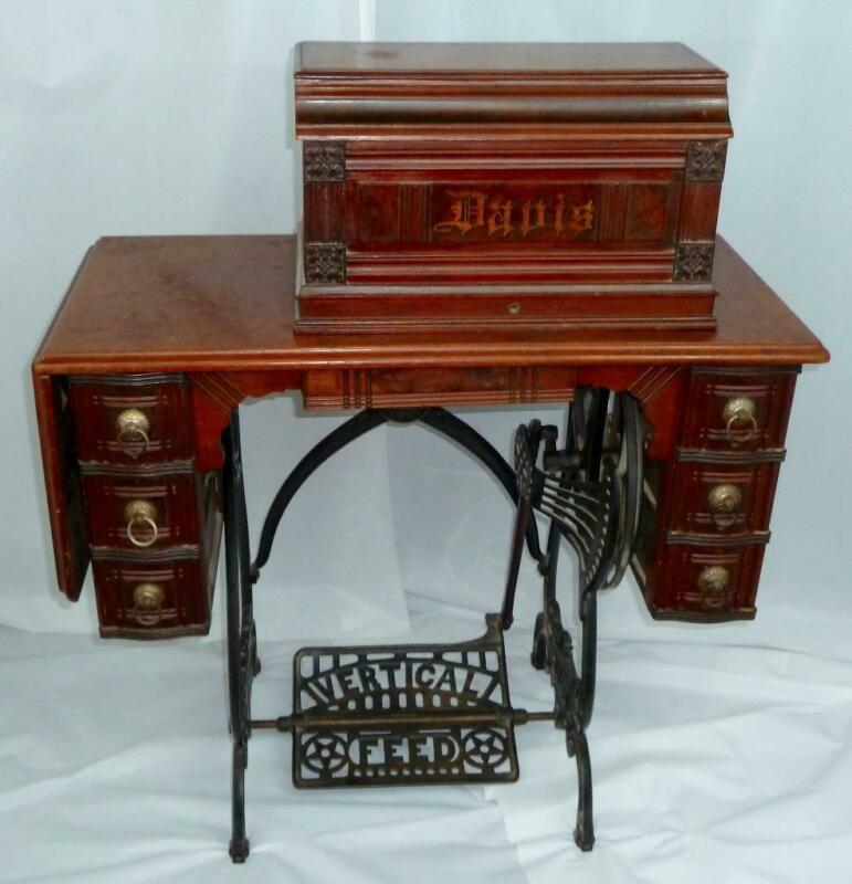 Antique 1886 Davis Vertical Feed Treadle Sewing Maching Walnut Case Nice Cnd