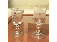 A group of etched glasses, similar but different!