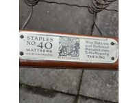 Antique Staples single bed and mattress