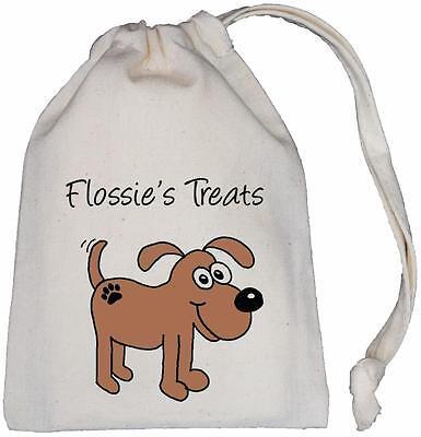 Personalised - Doggy Treats Bag - Natural Cotton (Cream) Drawstring Bag DOG