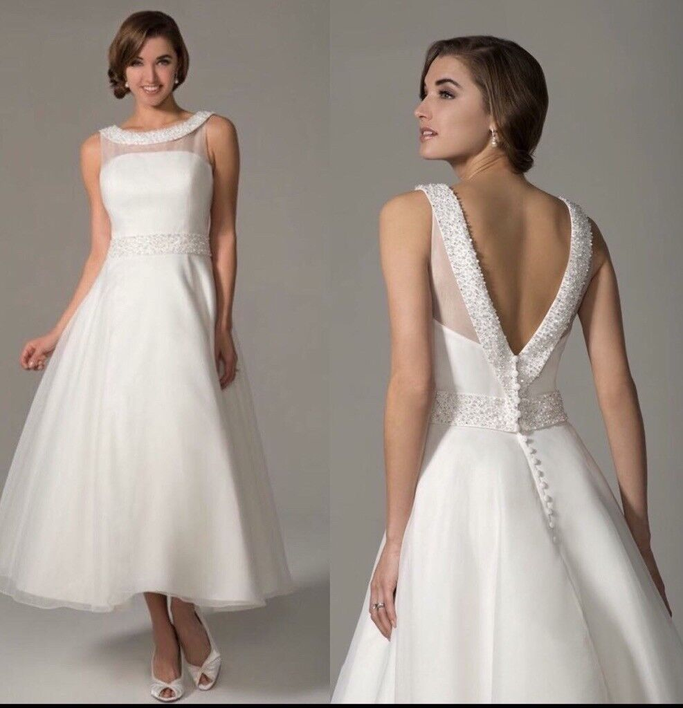 Ivory T Length Wedding Dress With Organza Overlay In Ballynahinch