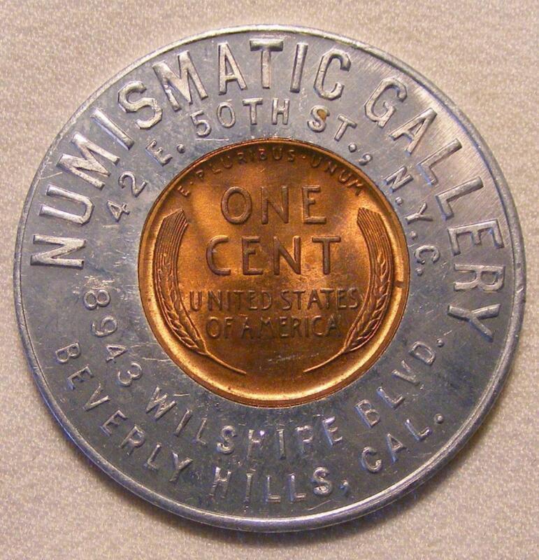 1947 Numismatic Gallery of Beverly Hills, CA Good Luck Encased Wheat Cent