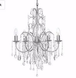 Brand new in box John lewis Estella 5 arm chandelier chrome/silver, crystal like droplets RRP £200!