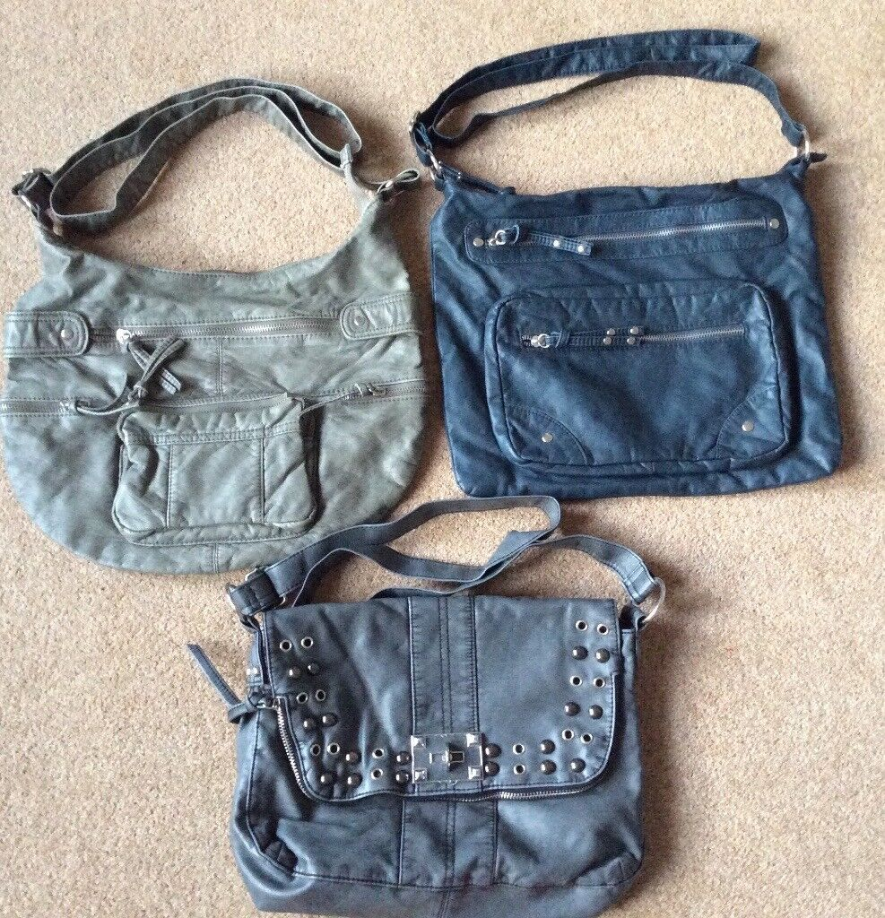 Khaki, Navy & Grey Bags - 3 For £5