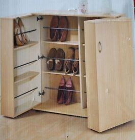 Large Double Door Beech Shoe Cupboard